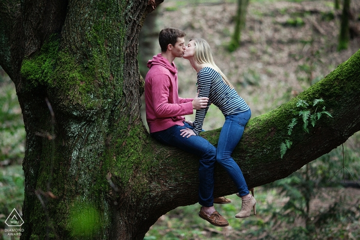 Creative Engagement Session in Western Washington - Couple kissing high up in large tree