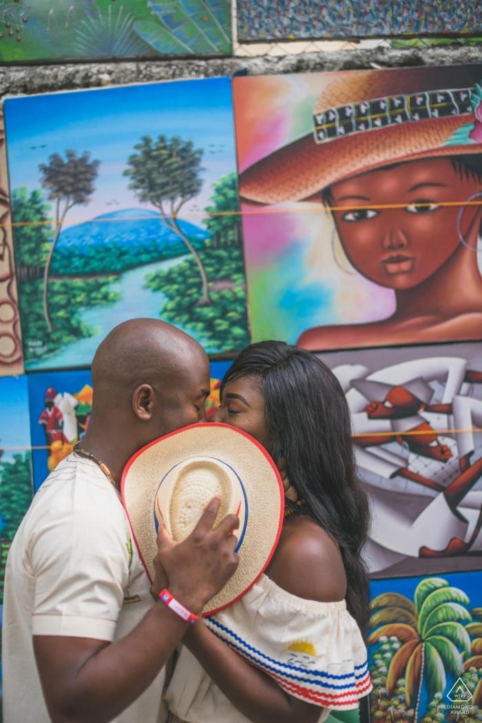 Art Kiss - Massachusetts Engagement Photo behind the hat