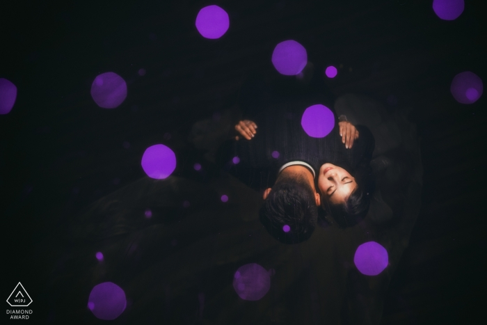 Facula Bokeh Portrait from above - Purple Dots Engagement Photo