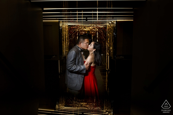 Istanbul engagement shooting photo with red dress indoors
