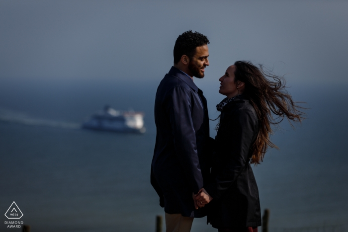 A suprise wedding proposal at the White Cliffs of Dover, Kent, UK