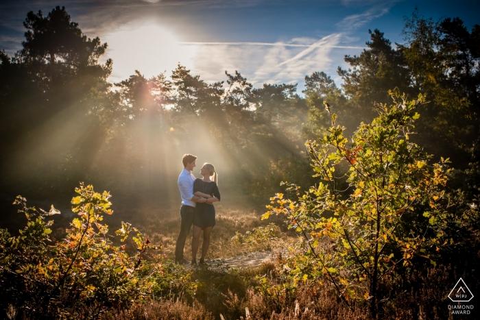 Stay Okay Bergen op Zoom avec la lumière du matin un beau couple, photo couleur, sur la lande et le bois à Bergen op Zoom