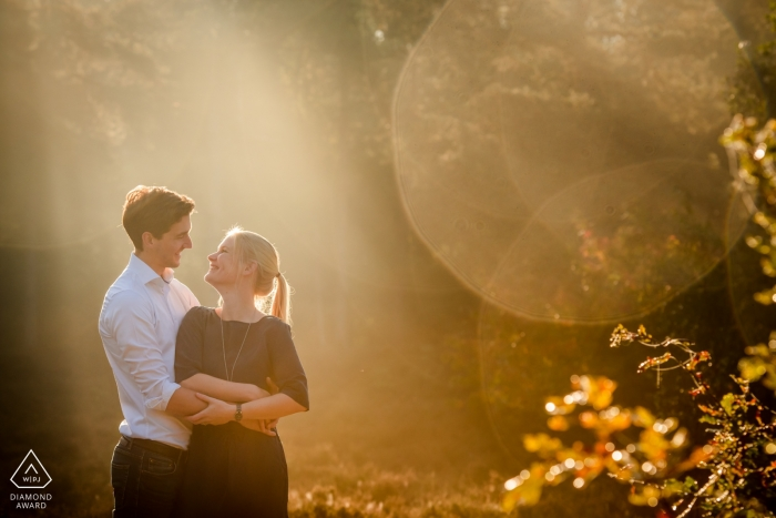 Stay Okay Bergen op Zoom engagement photo shoot | nice light, with lovely couple, in the morning sun, taken in november