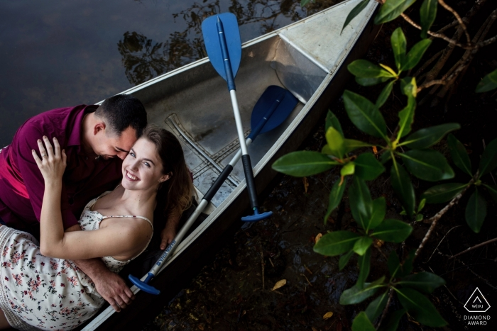 Key West portrait photographer | Canoe fun Engagement session on the water