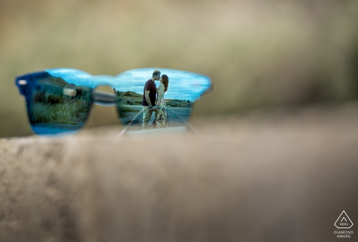 Mojacar Spain Photo shoot with Sunglasses for engaged couples