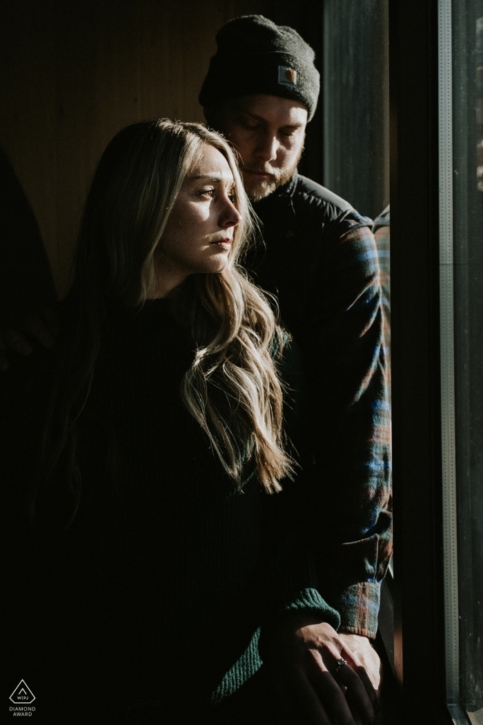Cisco Grove, CA indoor engagement photo shoot - Starbucks can make interesting images