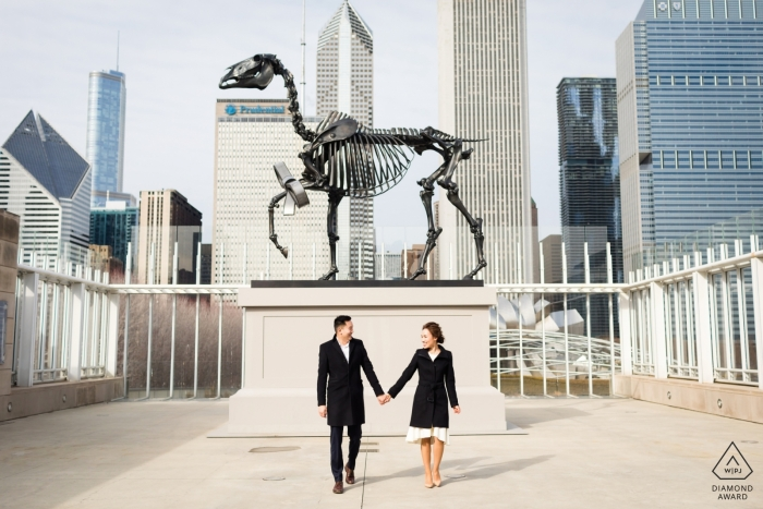 Chicago, IL pre-wedding portraits - The dinosaur skeleton on the roof.