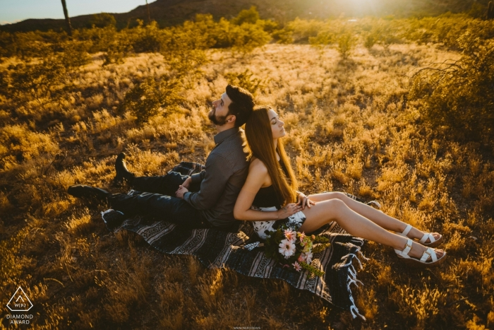 South Mountain, Arizona engagement photo shoot during the Golden Hour