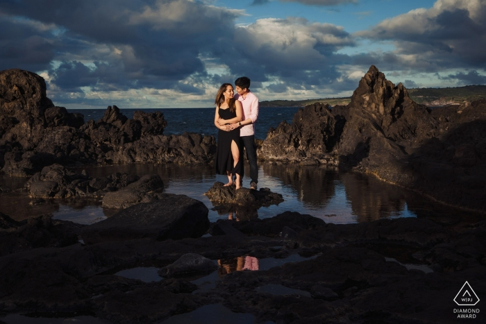 Maui, Hawaii engagement session at the beach in the tidal pools