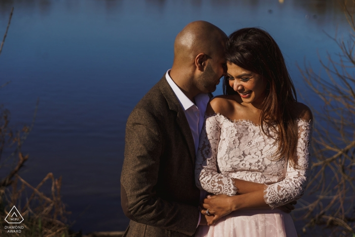 Pre Wedding shoot in London   calm waters behind this couple in love