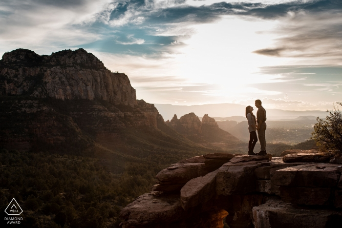 Sedona, AZ Engagement Photography - Couple on mountain top in Sedona