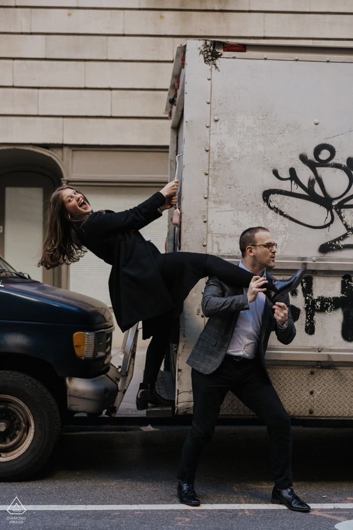 """5th Av, NYC Engagement Photographer: """"A whirlwind of love and crazy energy. They wanted a photoshoot for their engagement that reflected that, """"not the standard"""" they said."""""""