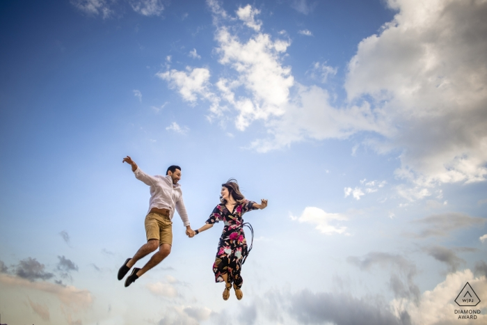 Istanbul engagement shoot captured this couple jumping into the clouds