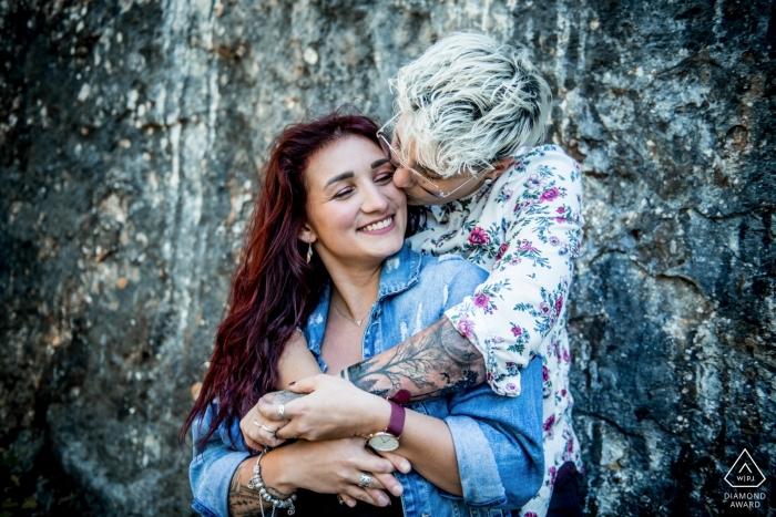 Hauts-de-France - verlovingsportretopname voor een rotsachtige achtergrond
