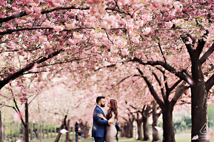 Engagement Portrait Session at Brooklyn Botanic Garden, New York in full bloom.