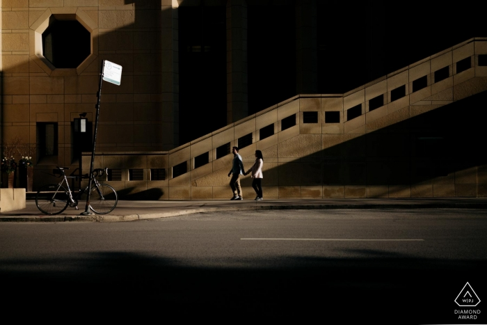 """Chicago Engagement Portrait Photographer: """"I asked the couple to walk down the street. and the light and shadow accentuated the two of them."""""""
