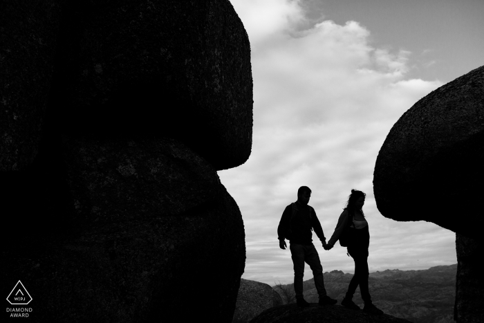 Peneda Geres National Park - Portugal engagement shoot on the hike on the mountain