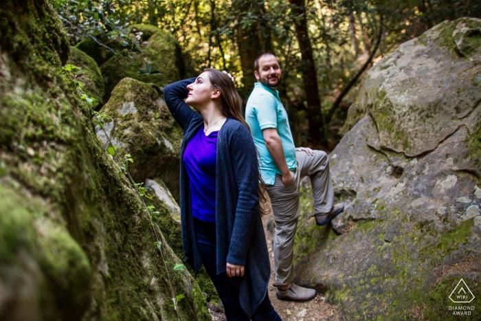 Castle Rock State Park, Los Gatos Engagement Portrait between the rocks