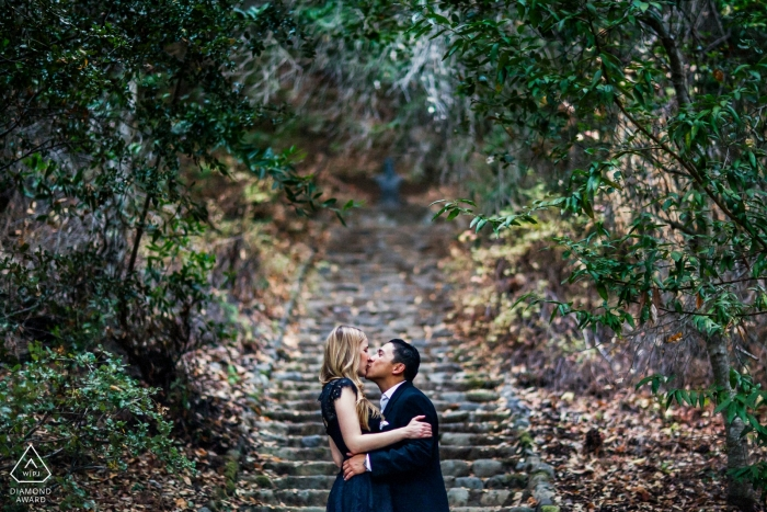 Montalvo Arts Center, Saratoga Engagement Portrait at the stairs with trees.