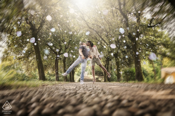 This engagement session that took place at a Vincenza city park was captured by a Venice engagement photographer