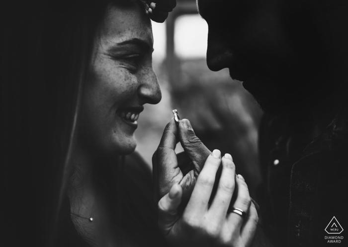 Ceparana Love engagement photoshoot in black and white