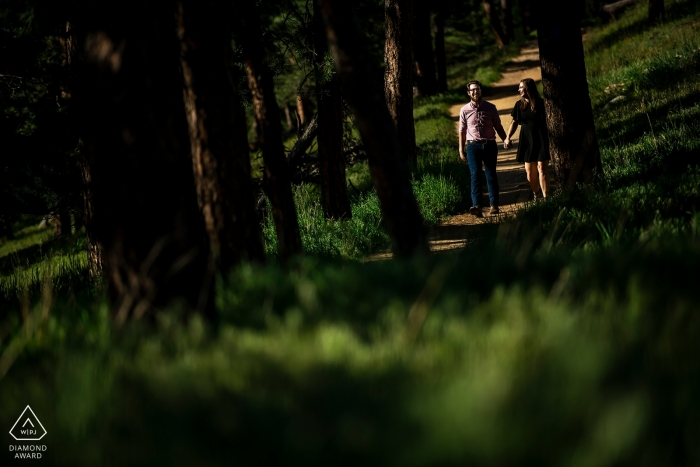 Colorado Betasso Preserve - Pre-Bride and pre-groom hiking in the woods