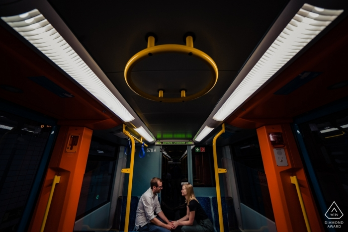 In a the Subway Frankfurt - Portrait Session before the wedding