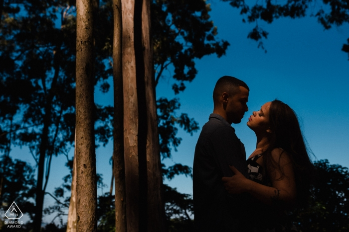 Niteroi - RJ / Brazil engagement portrait of the couple posing among the trees