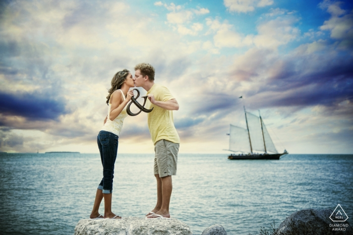 Key West, FL Engagement Shoot at the Beach with Sail Boat