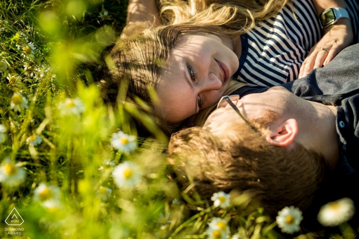 Brno Couple on the blooming meadow during engagement photo shoot session