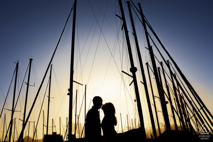 La Cala, Palermo, Italy Engagement Shoot - Kiss at sunset at the tourist port of Palermo