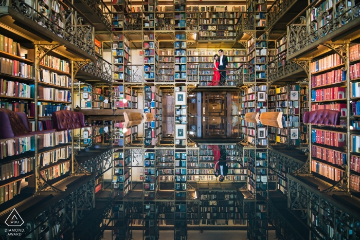 """Uris Library at Cornell University Engagement Photographer: I used the reflection on the library desk to create this """"up side down"""" look-like image."""