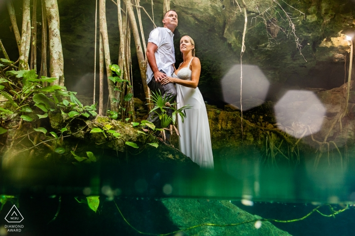Cenote Buho Playa del Carmen Water Pre Wedding Shoot - Engagement photo session at the cenote