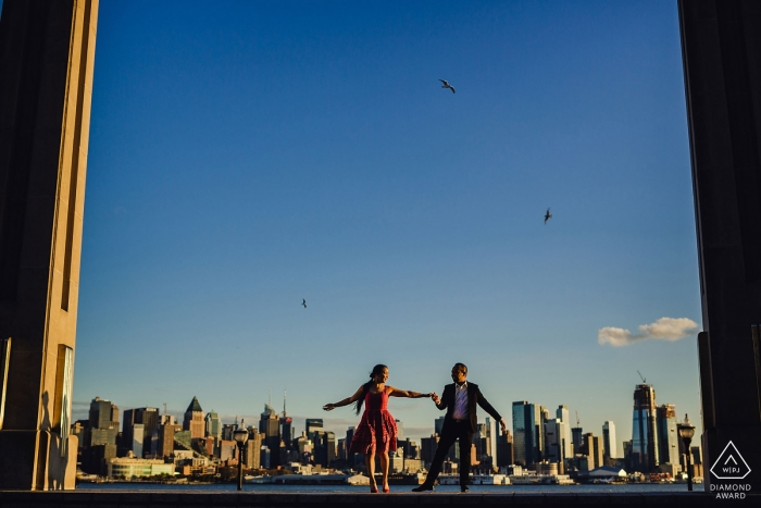 Weehawken New Jersey engagement photos | They were dancers at one point so they danced.