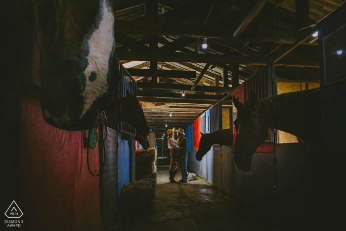 Adana Turkey couple kissing in a horse stable during engagement photo session