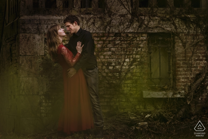 Belgium Engagement Loveshoot in front of an old castle, urban location