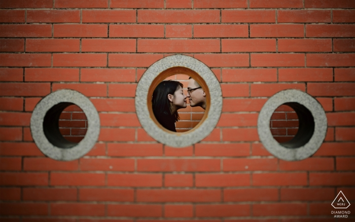 Tian'an Park Engagment Portrait Photography - Lovers bump noses in a circle