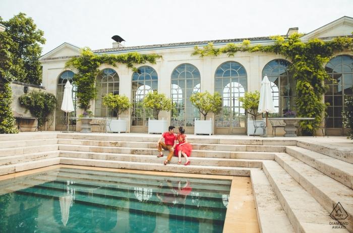CHATEAU DE TERTRE, FRANCE PHOTOGRAPHY - Séance de fiançailles à Bordeaux, avant leur mariage à Hong Kong