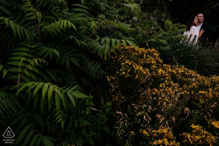 Brooklyn, New York, photo d'engagement du couple entre arbres et arbustes.