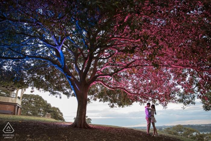 """Observatory Hill, Sydney NSW Betrokkenheidsfotograaf: """"Voor dit verlovingsportret gebruikte ik twee flitsen, een met blauwe en een met magenta-gel. Ik heb de flitsen op afstand geactiveerd om dit beeld in de schemering te verkrijgen."""""""