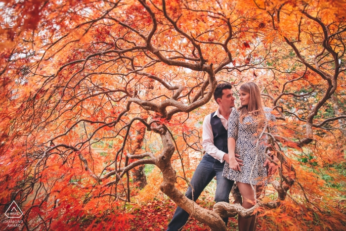 """Leura, Blue Mountains, NSW Pre-Wedding Photographer: """"It was end of May in Sydney's Blue Mountains. I saw that beautiful tree with orange/red leaves, so I told the couple to crawl underneath. I followed them and this wonderful image happened"""""""