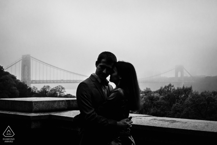 Fort Tyron Park, New York City engagement session with a foggy George Washington bridge
