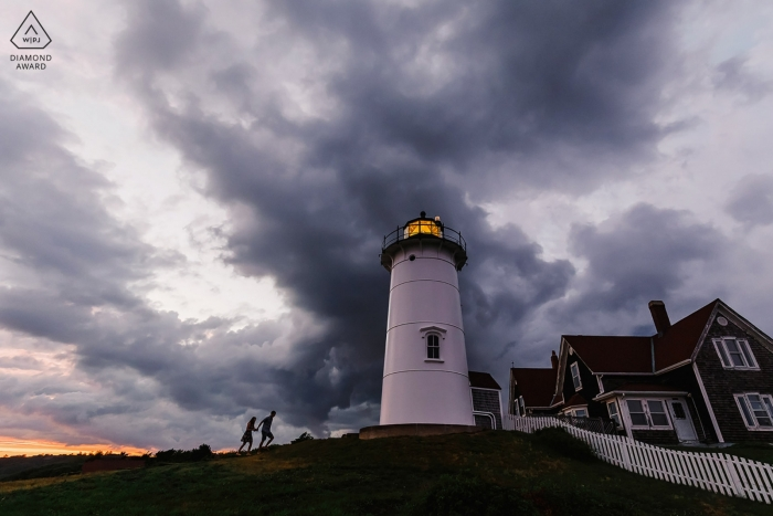 Nobska Lighthouse, Falmouth, MA engagement portrait session at sunset