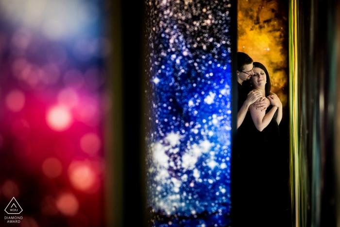 Engagement shoot with a couple using color layers at Hvězdárna a Planetáruim Brno