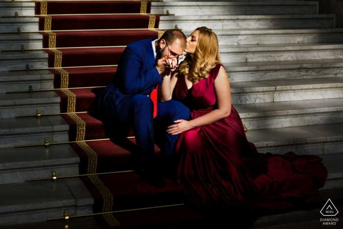 Bucharest Couple loving each other during the pre wedding photo session in the Appeal Court
