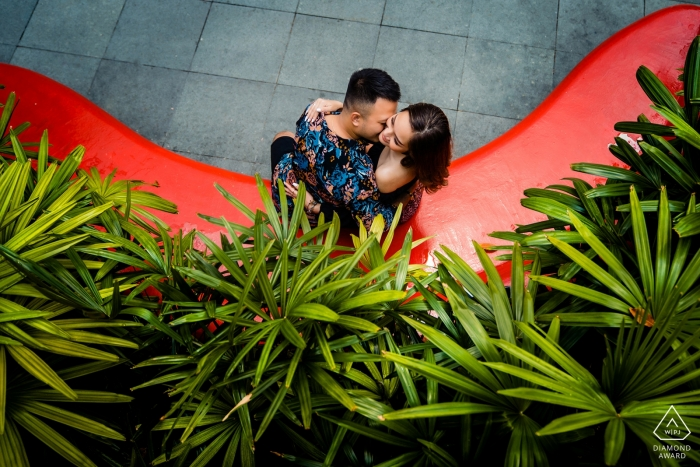 Singapore Engagement photoshoot in red and green