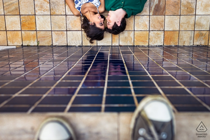 Engagement Photographer for Vicosa, Brazil Couple | laying on the ground for prewedding shoot