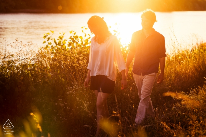 Engagement Photos from Wiesbaden, Germany - Couple walking in the nature near a river