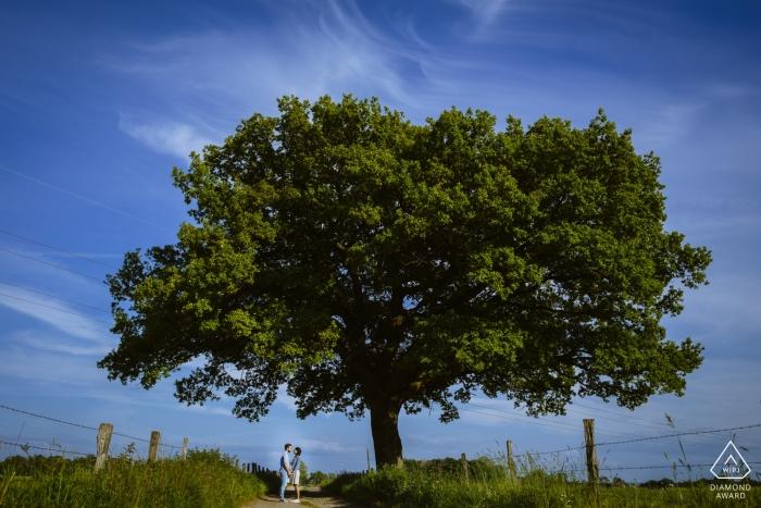 Verlobungsporträt aus Aachen, Deutschland - Bild enthält: Paar, Baum, Zaun, Gras, Blau, Himmel