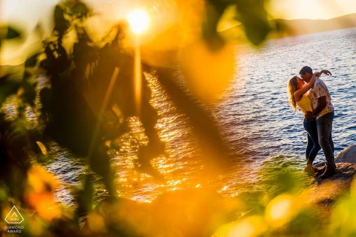 Engagement Photography for Secret Beach Lake Tahoe | Couple gets intimate on the rocks